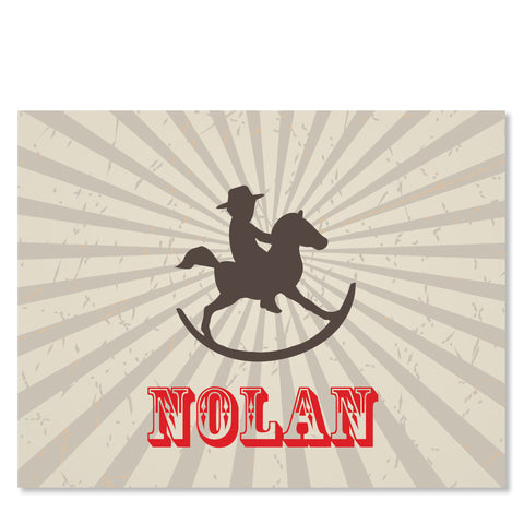 Cowboy Rocking Horse Folded Notecard | Swanky Press