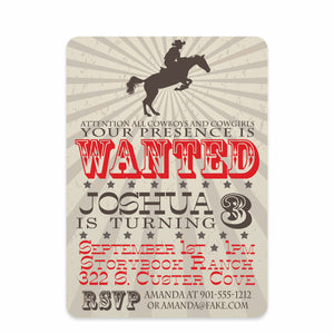 Cowboy On a Horse Birthday Invitation | Swanky Press | Front
