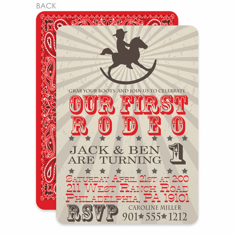 Rocking Horse Cowboy Invitation | Swanky Press | Red