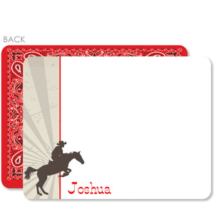 Cowboy and Horse Flat Notecard | Swanky Press | Red
