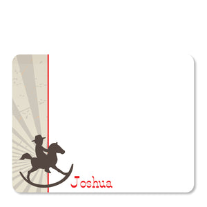 Cowboy Rocking Horse Flat Notecard | Swanky Press | Front