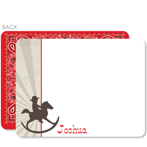 Cowboy Rocking Horse Flat Notecard | Swanky Press | Red
