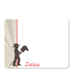 Cowboy Stick Horse Flat Notecard | Swanky Press | Front