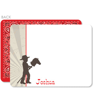 Cowboy Stick Horse Flat Notecard | Swanky Press | Red