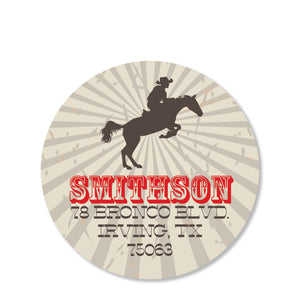 Cowboy and Horse Return Address Stickers, Red