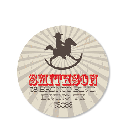 Cowboy and Rocking Horse Return Address Sticker | Swanky Press | Round