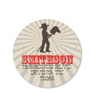 Cowboy and Stick Horse Return Address Sticker | Swanky Press | Round