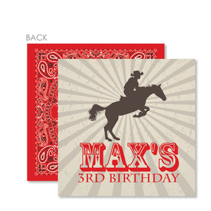 Cowboy and Horse Cardstock Gift Tag | Swanky Press | Red