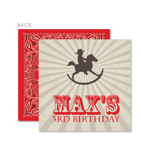Cowboy Rocking Horse Cardstock Favor Tag | Swanky Press | Red