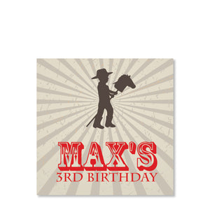 Cowboy and Stick Horse Cardstock Favor Tag | Swanky Press | Front