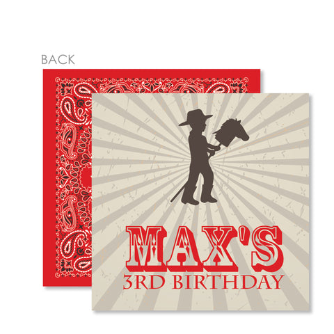 Cowboy and Stick Horse Cardstock Favor Tag | Swanky Press | Red