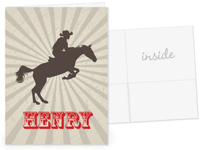 Cowboy silhouette on brown sunburst pocket folder
