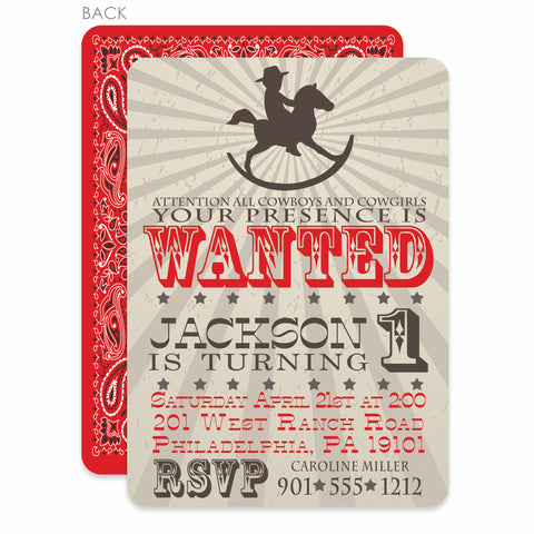 Rocking Horse Cowboy Birthday Invitation | Swanky Press