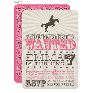 Cowgirl and Horse Party Birthday Invitation