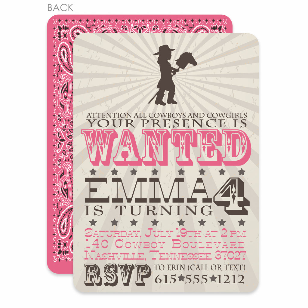 Cowgirl Stick Horse Party Birthday Invitation – Pipsy