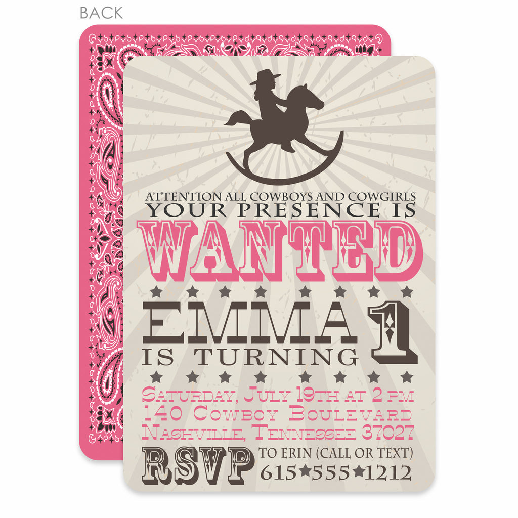 Rocking Horse Cowgirl Birthday Invitation – Pipsy