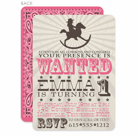 Rocking Horse Cowgirl Birthday Invitation