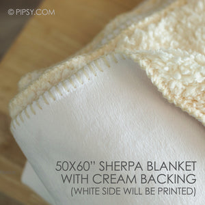 Extra large Cream Sherpa Baby Name Blanket | Pipsy.com