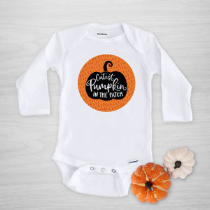 Cutest Pumpkin in the patch Gerber Onesie for fall, autumn, halloween, long sleeved