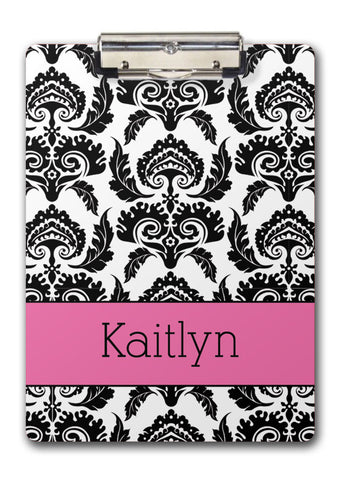 Black damask with hot pink name band two-sided clipboard