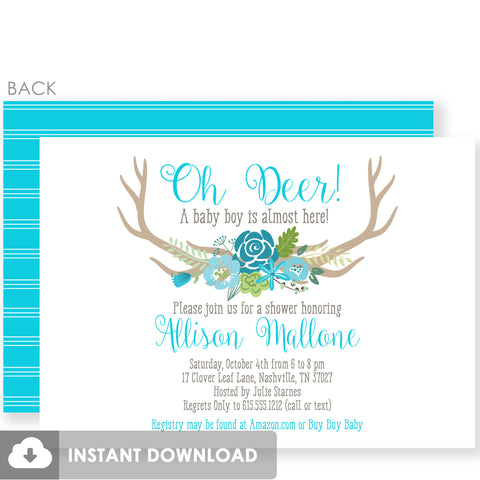 Oh Deer Boy Baby Shower Invitation | Instant Download and Fully Editable Colors | Templett Invitation | PIPSY.COM