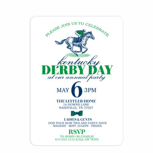 Kentucky Derby Day Invitation | Swanky Press (front view)