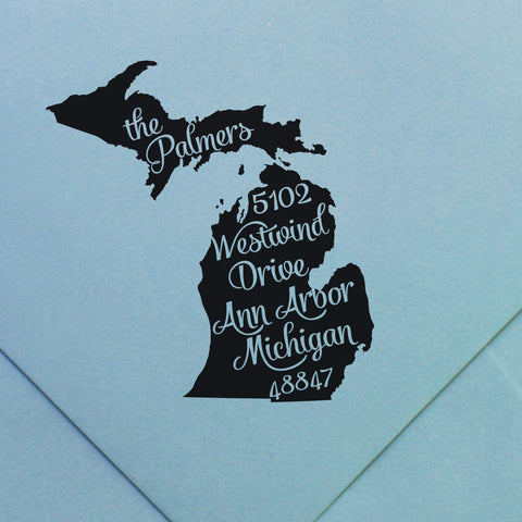 Custom return address stamp - any state | Swanky Press (design 28)