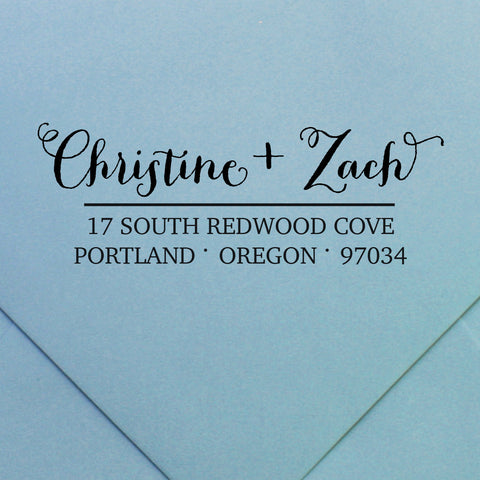 custom couples return address stamp | Swanky Press (design 34)