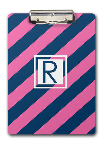Hot pink and blue diagonal stripes with white accent for initial clipboard