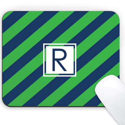 Green and navy diagonal stripes with navy initial mousepad