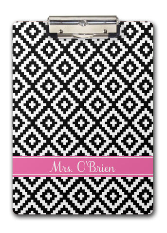 Diamond pattern with black and hot pink name band clip board
