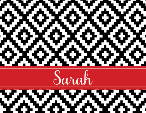 Black diamonds with red name band folded notecards