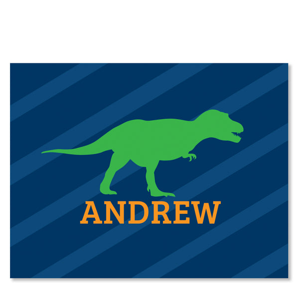 Dinosaur Party Folded Notecard | Swanky Press | Blue & Green