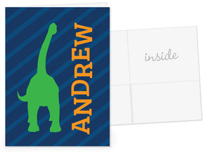 Green dinosaur on navy stripes pocket folder