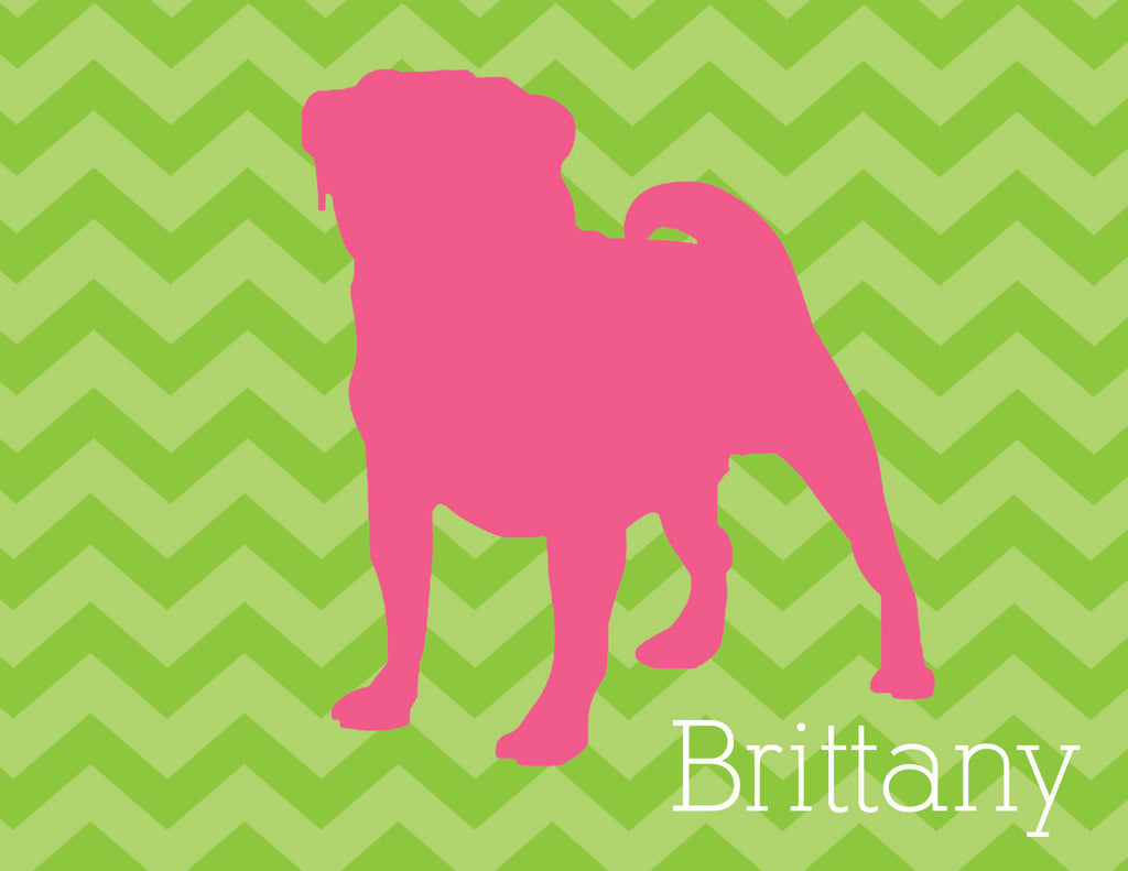 Dog silhouette in pink with green chevron folded notecards