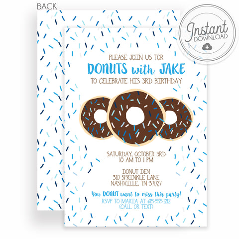 Donut Birthday Invitations, Blue Sprinkle Chocolate Donut, Instant Download DIY Templett, PIPSY.COM