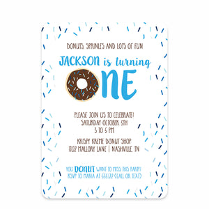 Donut First Birthday Invitations, Blue (Printed)