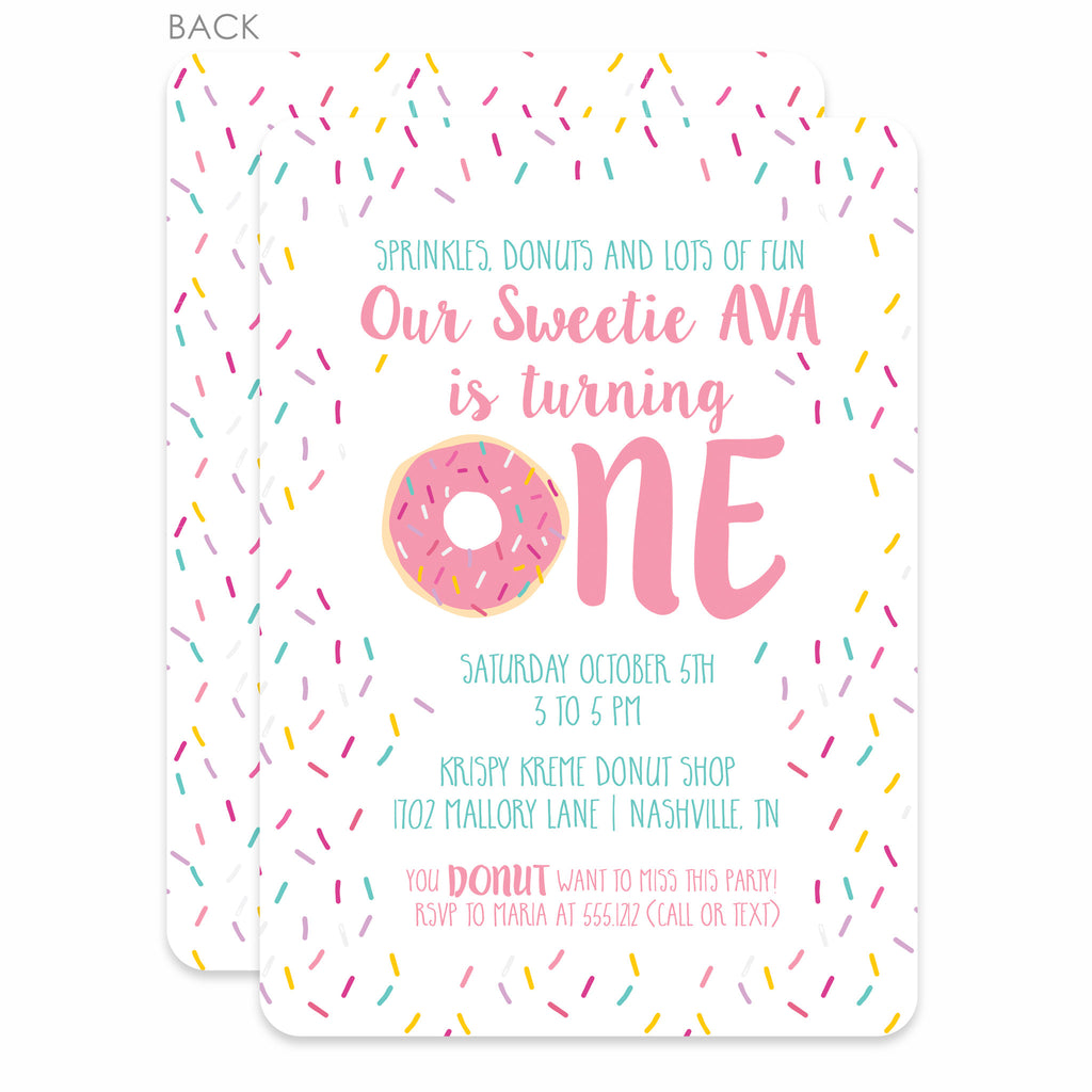 Donut First Birthday Invitations Pink Printed Pipsy