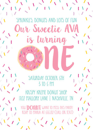 Donut First Birthday Invitation | Swanky Press (front view)