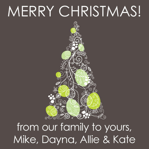 grey and lime christmas tree gift tags square