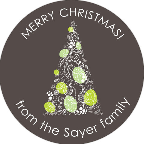 grey and lime christmas tree gift stickers round