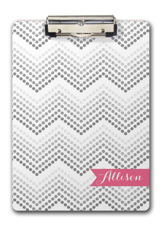 Dotted chevron with hot pink name banner clipboard