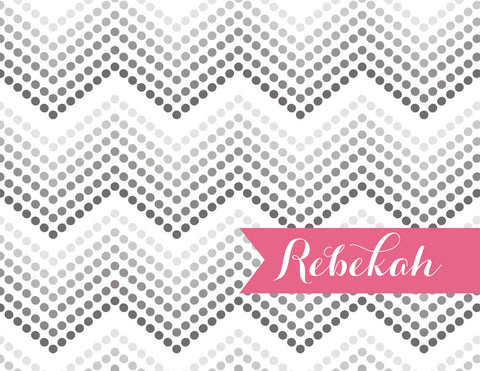 Dotted chevron with hot pink name banner folded notecards