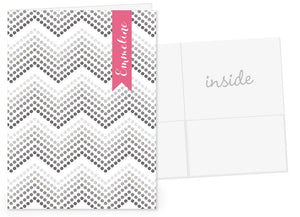 Dotted chevron with hot pink name banner pocket folder