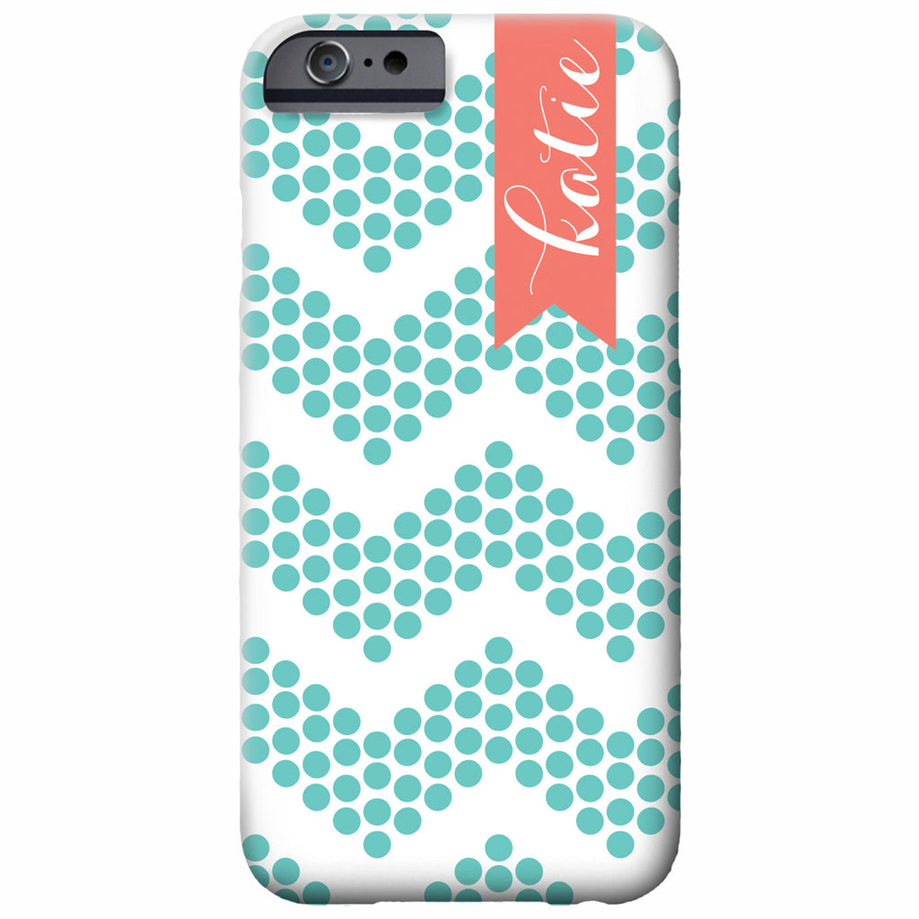 aqua dotted chevron iPhone case | swanky press