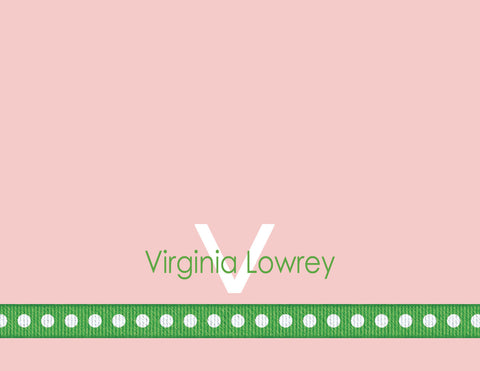 Dotted ribbon, green, pink, girl