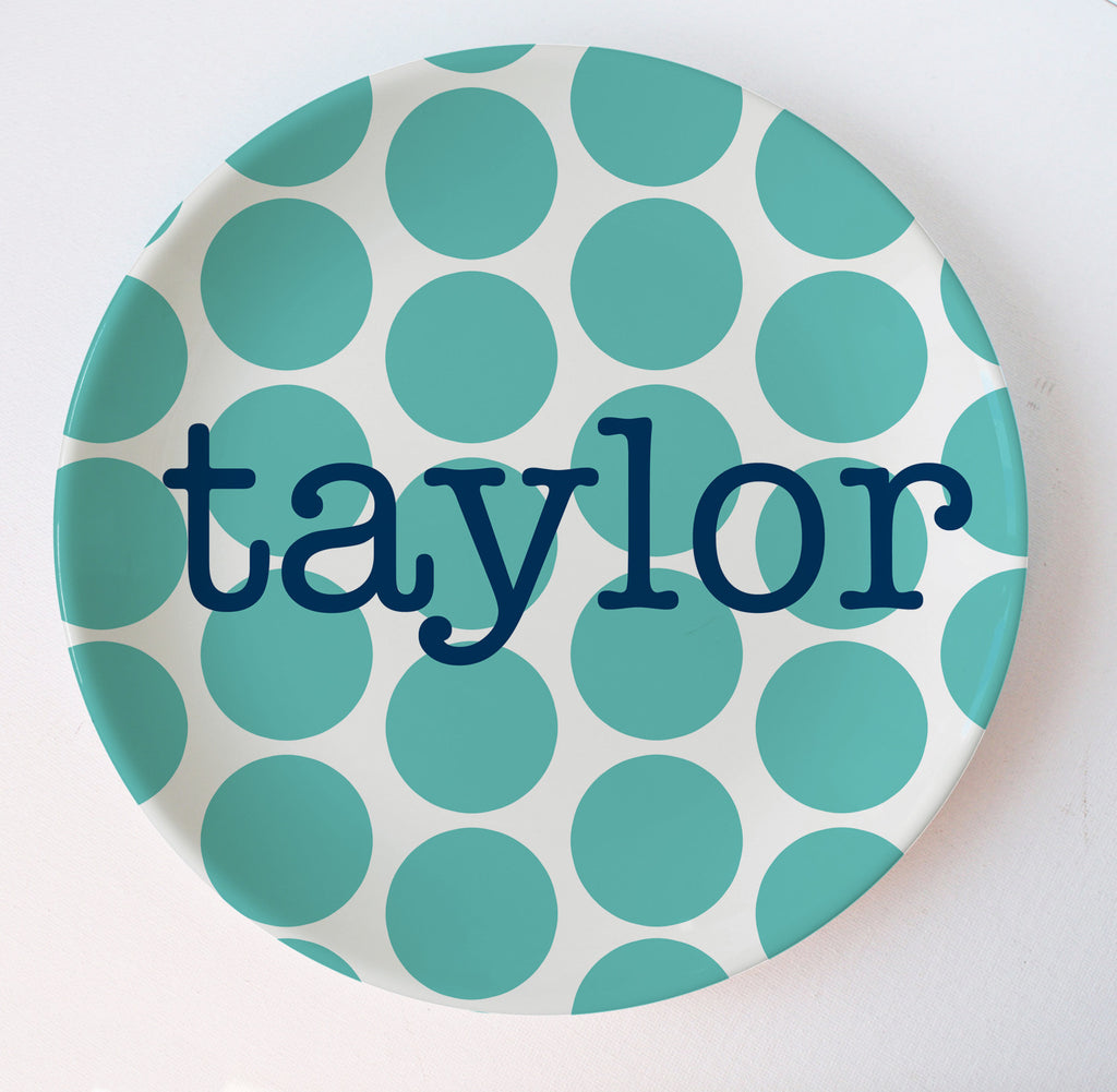 big dots melamine plate in aqua with navy name