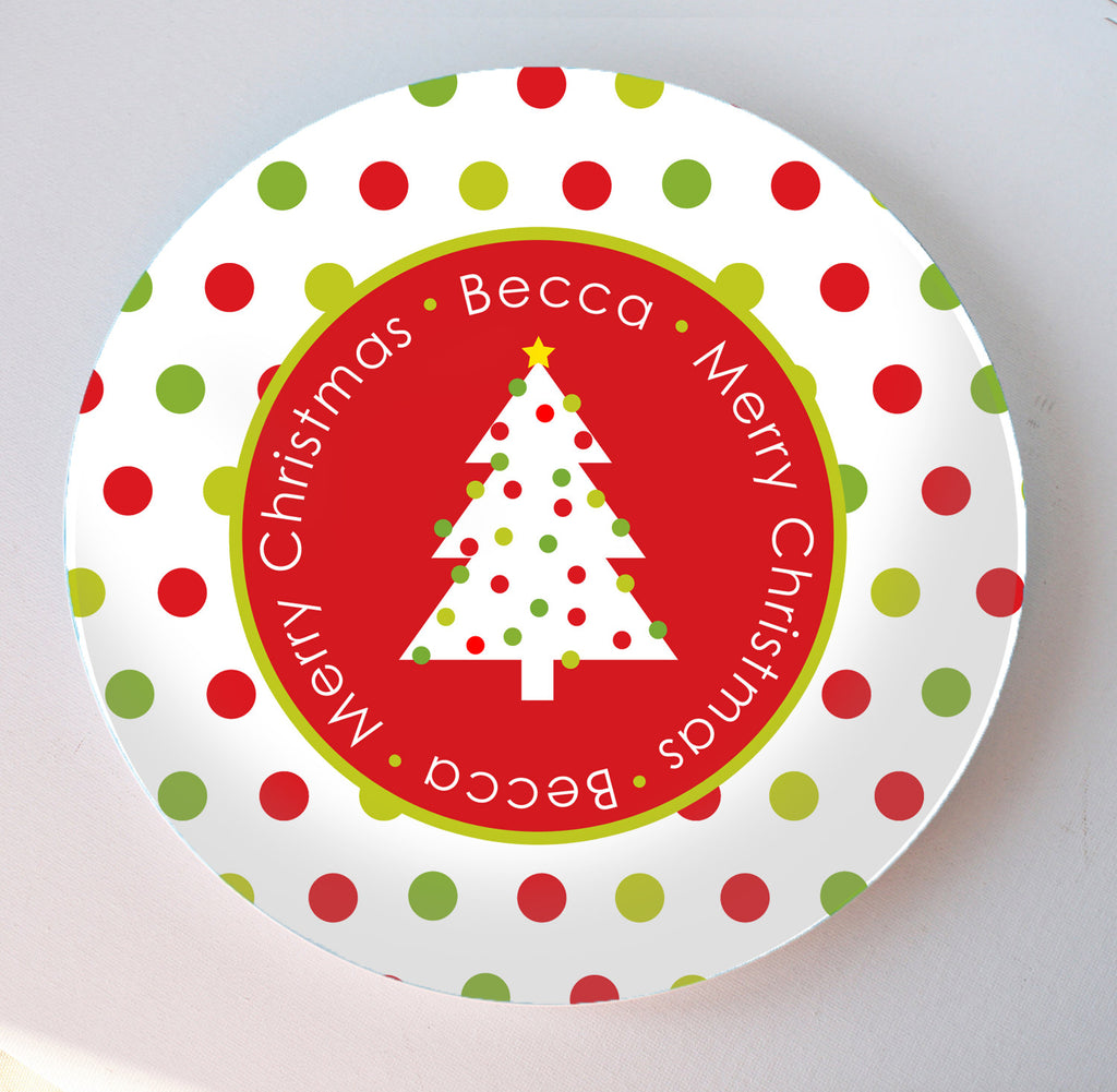 polka dotty Christmas tree melamine plate personalized