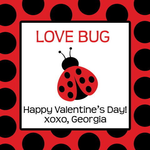 Dotty ladybug Valentine's day gift tag in red and black