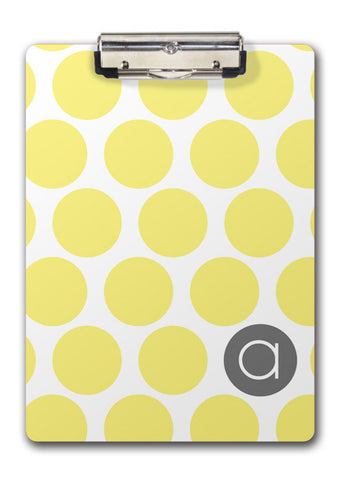 yellow dotty personalized clipboard